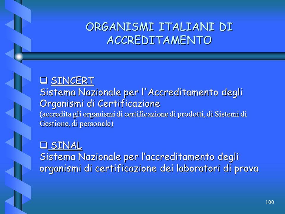 100 ORGANISMI ITALIANI DI ACCREDITAMENTO SINCERT SINCERT Sistema Nazionale per l'Accreditamento degli Organismi di Certificazione (accredita gli organ