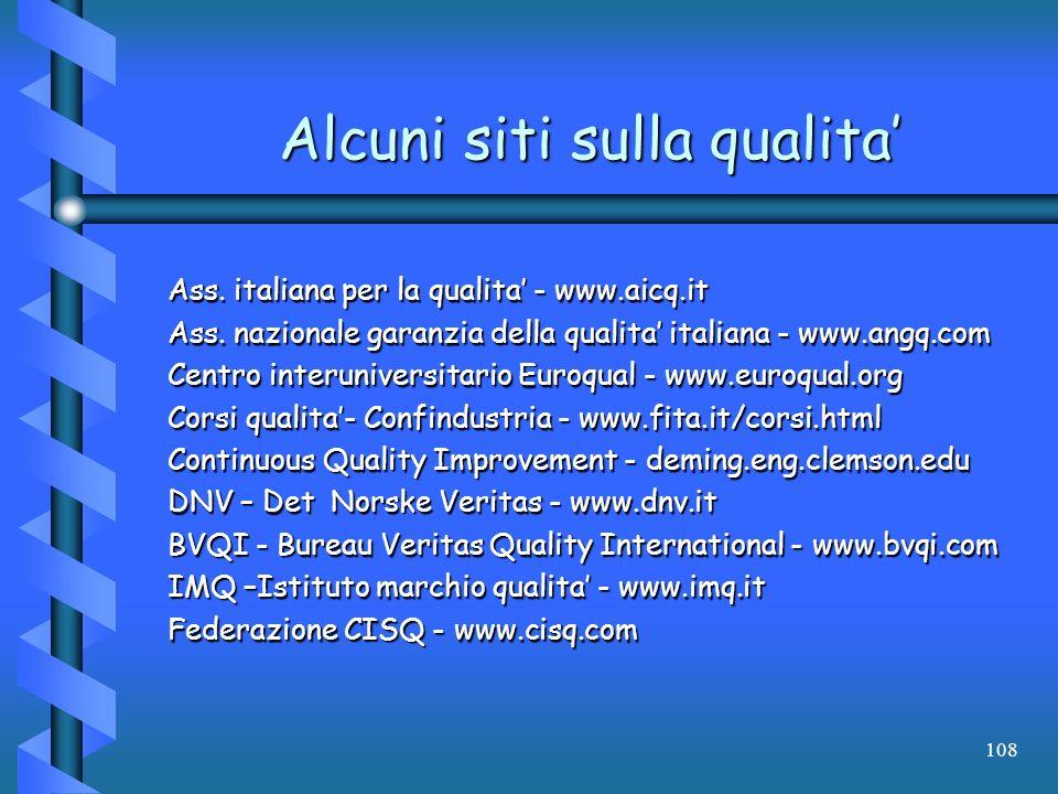 108 Alcuni siti sulla qualita Ass. italiana per la qualita - www.aicq.it Ass. nazionale garanzia della qualita italiana - www.angq.com Centro interuni