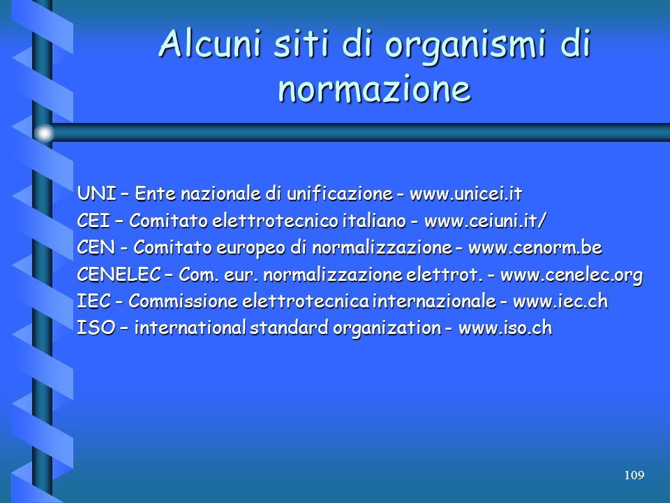 109 Alcuni siti di organismi di normazione UNI – Ente nazionale di unificazione - www.unicei.it CEI – Comitato elettrotecnico italiano - www.ceiuni.it