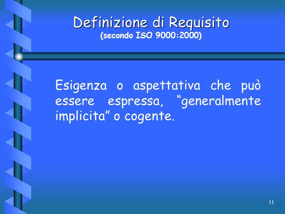11 Definizione di Requisito (secondo ISO 9000:2000) Esigenza o aspettativa che può essere espressa, generalmente implicita o cogente.