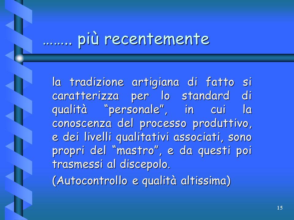 15 …….. più recentemente la tradizione artigiana di fatto si caratterizza per lo standard di qualità personale, in cui la conoscenza del processo prod
