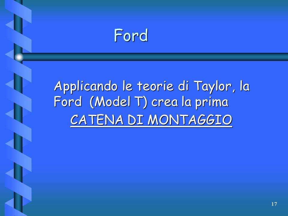 17 Ford Applicando le teorie di Taylor, la Ford (Model T) crea la prima CATENA DI MONTAGGIO