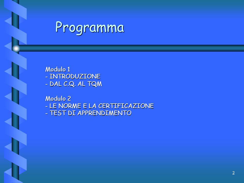 2 Programma Modulo 1 - INTRODUZIONE - DAL C.Q. AL TQM Modulo 2 - LE NORME E LA CERTIFICAZIONE - TEST DI APPRENDIMENTO