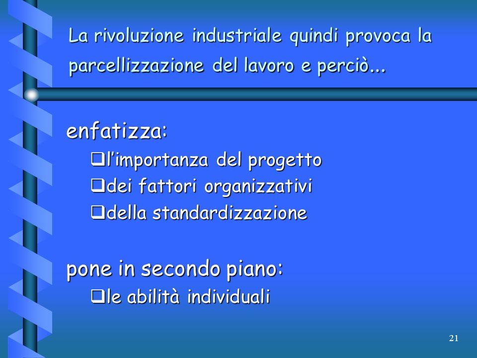 21 La rivoluzione industriale quindi provoca la parcellizzazione del lavoro e perciò … enfatizza: limportanza del progetto limportanza del progetto de