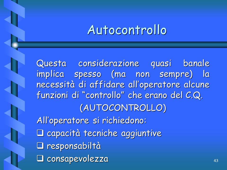 43 Autocontrollo Questa considerazione quasi banale implica spesso (ma non sempre) la necessità di affidare alloperatore alcune funzioni di controllo