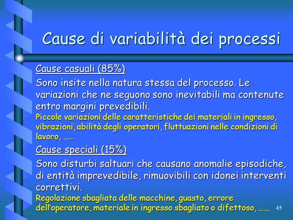 45 Cause di variabilità dei processi Cause casuali (85%) Sono insite nella natura stessa del processo. Le variazioni che ne seguono sono inevitabili m