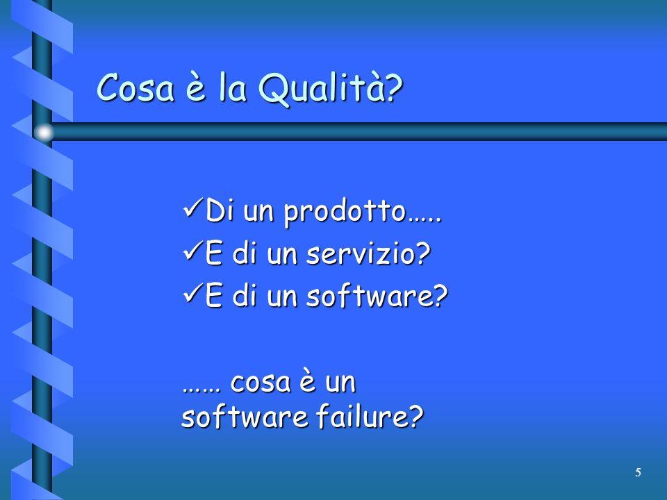 5 Cosa è la Qualità? Di un prodotto….. Di un prodotto….. E di un servizio? E di un servizio? E di un software? E di un software? …… cosa è un software