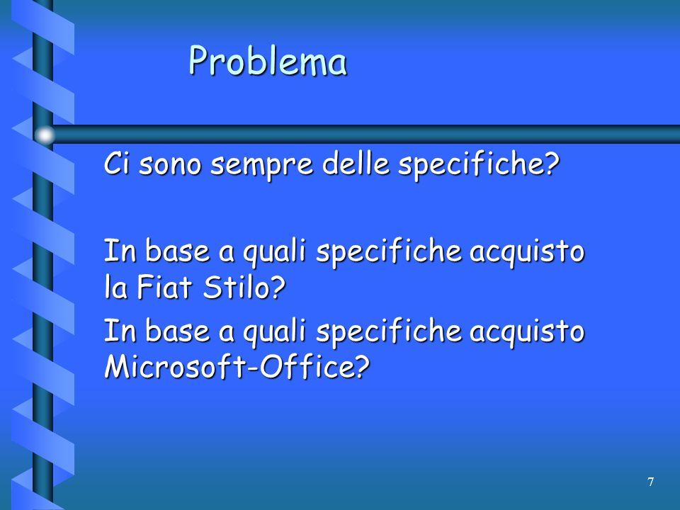 7 Problema Ci sono sempre delle specifiche? In base a quali specifiche acquisto la Fiat Stilo? In base a quali specifiche acquisto Microsoft-Office?