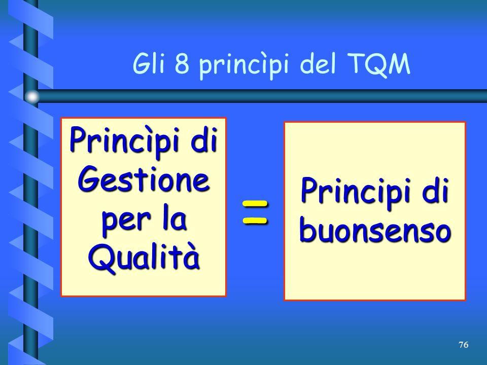 76 Gli 8 princìpi del TQM Princìpi di Gestione per la Qualità = Principi di buonsenso