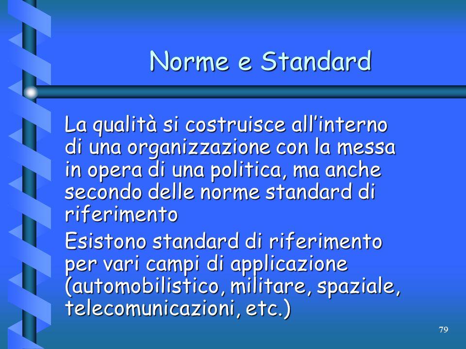 79 Norme e Standard La qualità si costruisce allinterno di una organizzazione con la messa in opera di una politica, ma anche secondo delle norme stan