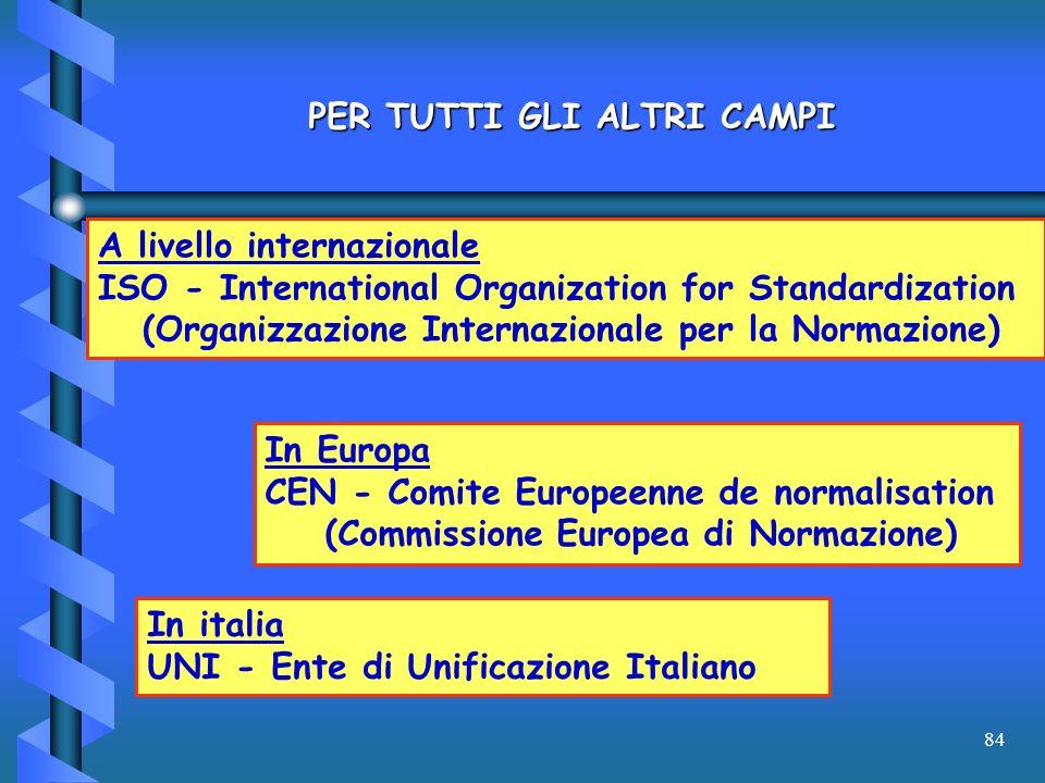 84 PER TUTTI GLI ALTRI CAMPI A livello internazionale ISO - International Organization for Standardization (Organizzazione Internazionale per la Norma