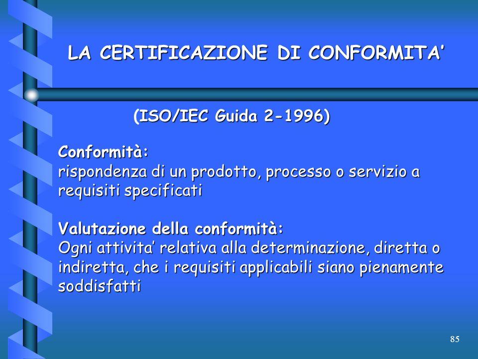 85 ISO/IEC Guida 2-1996) (ISO/IEC Guida 2-1996) Conformità: rispondenza di un prodotto, processo o servizio a requisiti specificati Valutazione della