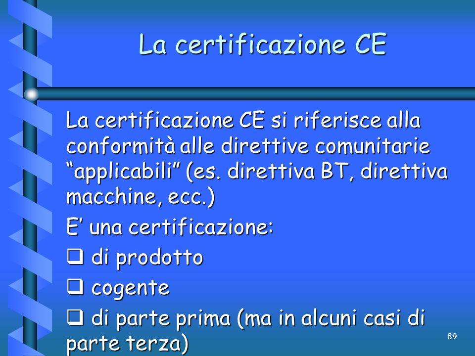 89 La certificazione CE La certificazione CE si riferisce alla conformità alle direttive comunitarie applicabili (es. direttiva BT, direttiva macchine
