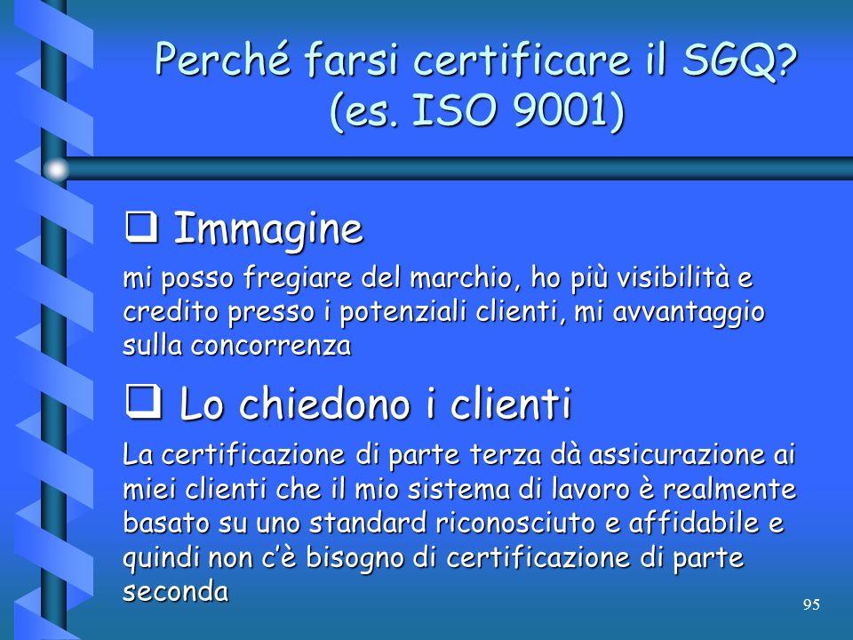 95 Perché farsi certificare il SGQ? (es. ISO 9001) Immagine Immagine mi posso fregiare del marchio, ho più visibilità e credito presso i potenziali cl