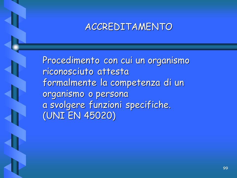 99 ACCREDITAMENTO Procedimento con cui un organismo riconosciuto attesta formalmente la competenza di un organismo o persona a svolgere funzioni speci