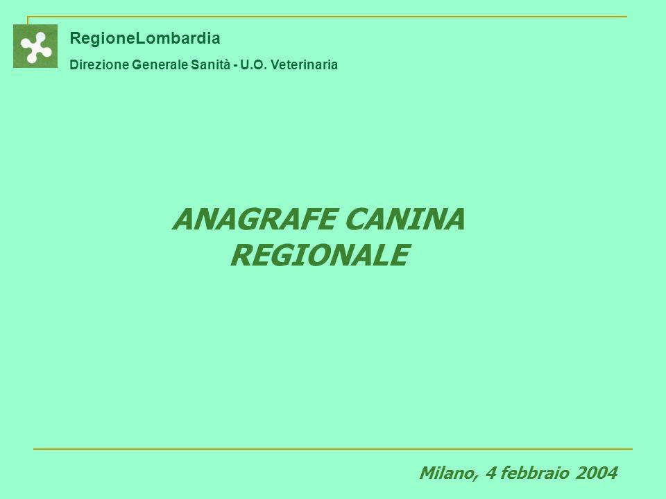 RegioneLombardia Direzione Generale Sanità - U.O.Veterinaria QUALI DATI IN ANAGRAFE .