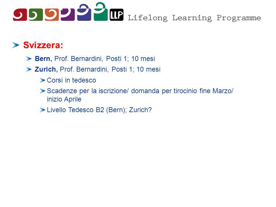 Svizzera: Bern, Prof. Bernardini, Posti 1; 10 mesi Zurich, Prof. Bernardini, Posti 1; 10 mesi Corsi in tedesco Scadenze per la iscrizione/ domanda per