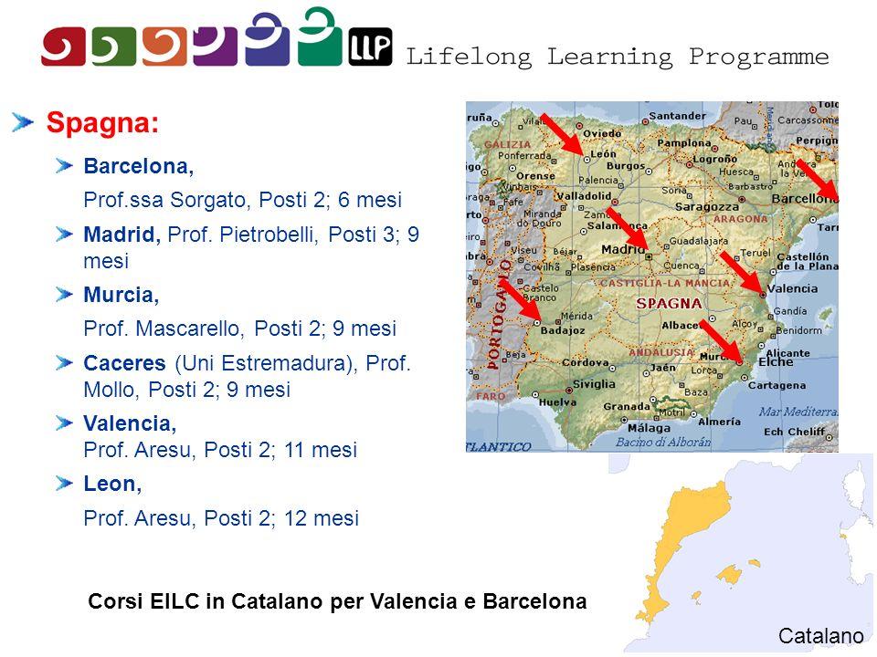 Elche Spagna: Barcelona, Prof.ssa Sorgato, Posti 2; 6 mesi Madrid, Prof. Pietrobelli, Posti 3; 9 mesi Murcia, Prof. Mascarello, Posti 2; 9 mesi Cacere