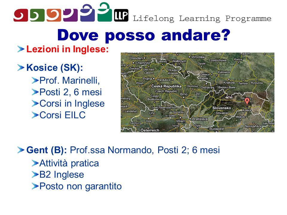 Dove posso andare? Lezioni in Inglese: Kosice (SK): Prof. Marinelli, Posti 2, 6 mesi Corsi in Inglese Corsi EILC Gent (B): Prof.ssa Normando, Posti 2;