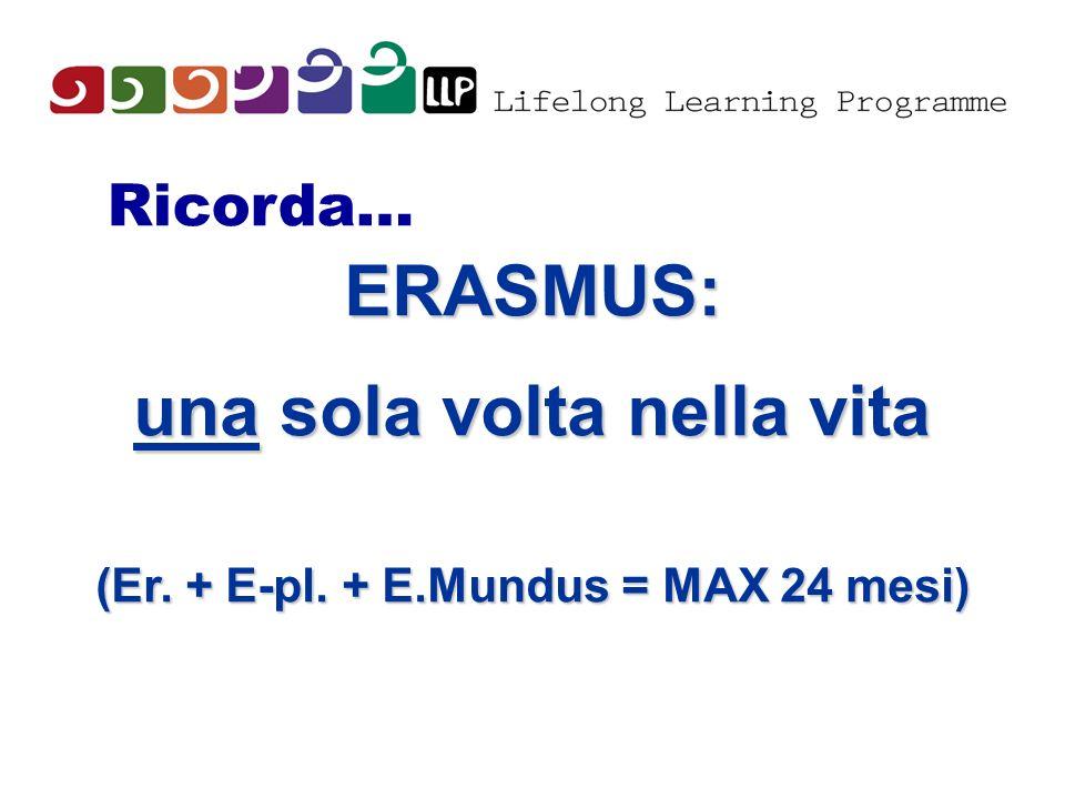 Ricorda… ERASMUS: una sola volta nella vita (Er. + E-pl. + E.Mundus = MAX 24 mesi)