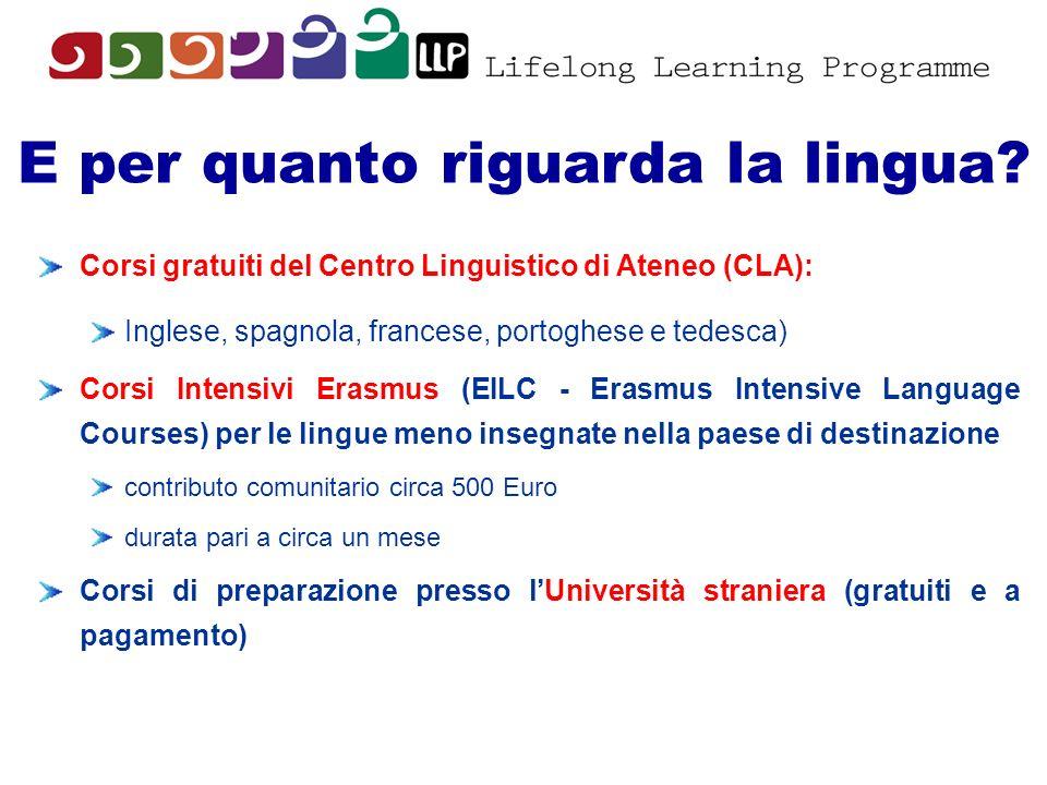 E per quanto riguarda la lingua? Corsi gratuiti del Centro Linguistico di Ateneo (CLA): Inglese, spagnola, francese, portoghese e tedesca) Corsi Inten