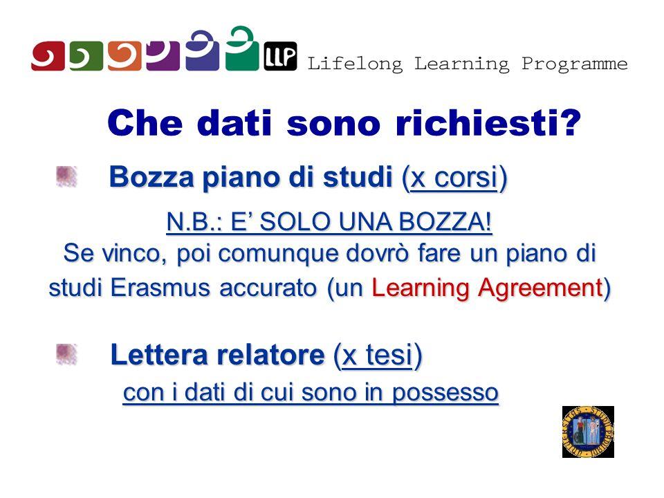 Che dati sono richiesti? Bozza piano di studi (x corsi) N.B.: E SOLO UNA BOZZA! Se vinco, poi comunque dovrò fare un piano di studi Erasmus accurato (