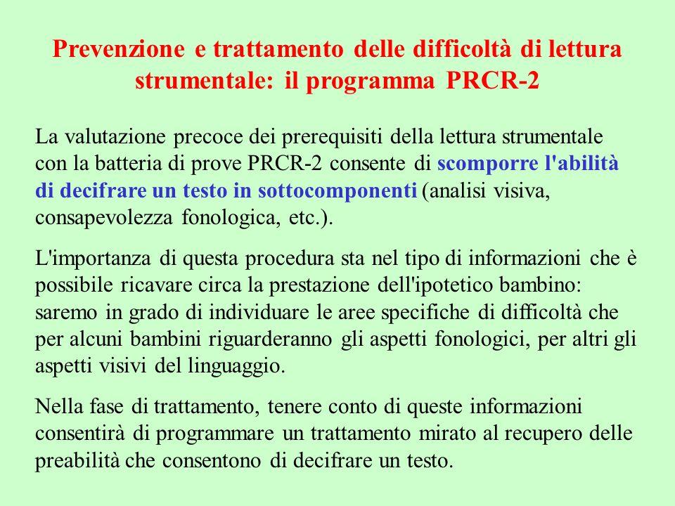 Il programma di trattamento PRCR-2 è suddiviso seguendo la batteria di valutazione PRCR-2; per ogni area è stato costruito un certo numero di schede ordinate per grado di difficoltà; ciò consente al bambino di migliorare gradualmente la padronanza degli esercizi da svolgere.