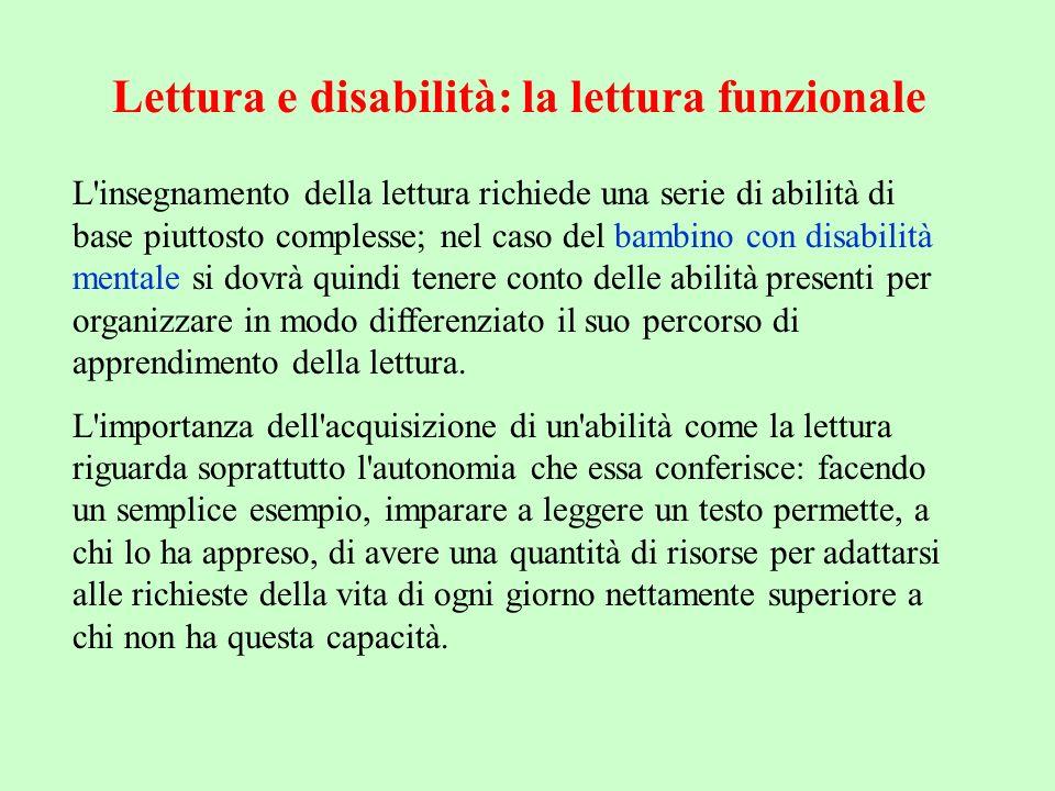 Insegnare a leggere a bambini disabili prevede quindi la scelta del livello di autonomia da raggiungere; ciò naturalmente non potrà prescindere da un attenta valutazione del grado di disabilità che il bambino presenta.