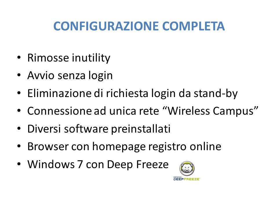 CONFIGURAZIONE COMPLETA Rimosse inutility Avvio senza login Eliminazione di richiesta login da stand-by Connessione ad unica rete Wireless Campus Dive