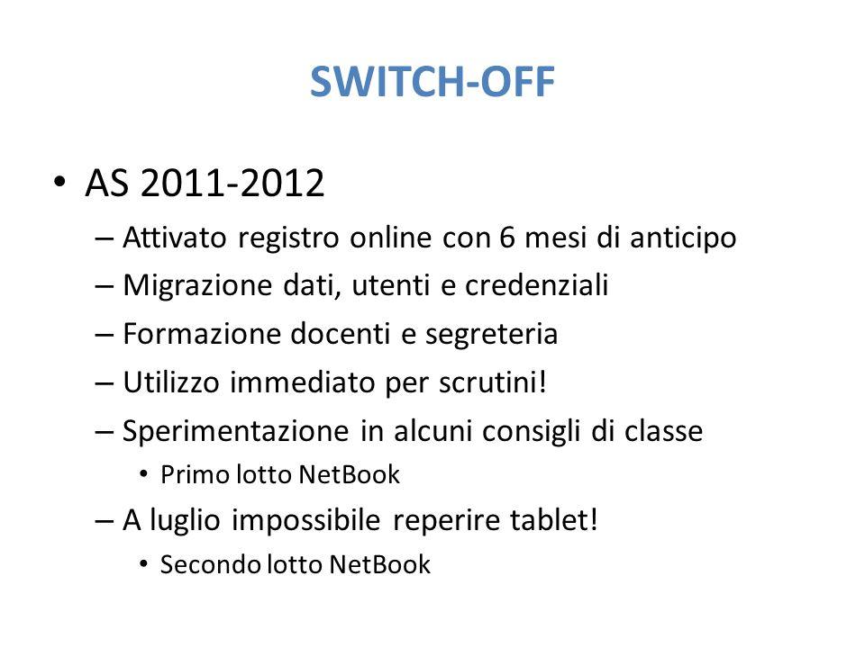SWITCH-OFF AS 2011-2012 – Attivato registro online con 6 mesi di anticipo – Migrazione dati, utenti e credenziali – Formazione docenti e segreteria –