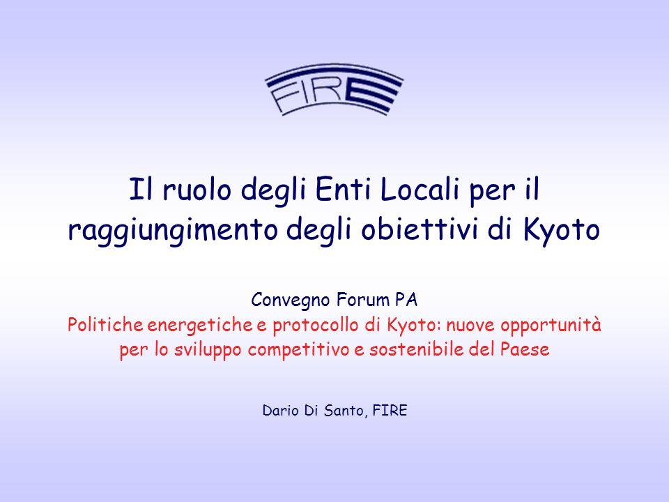 Il ruolo degli Enti Locali per il raggiungimento degli obiettivi di Kyoto Convegno Forum PA Politiche energetiche e protocollo di Kyoto: nuove opportunità per lo sviluppo competitivo e sostenibile del Paese Dario Di Santo, FIRE