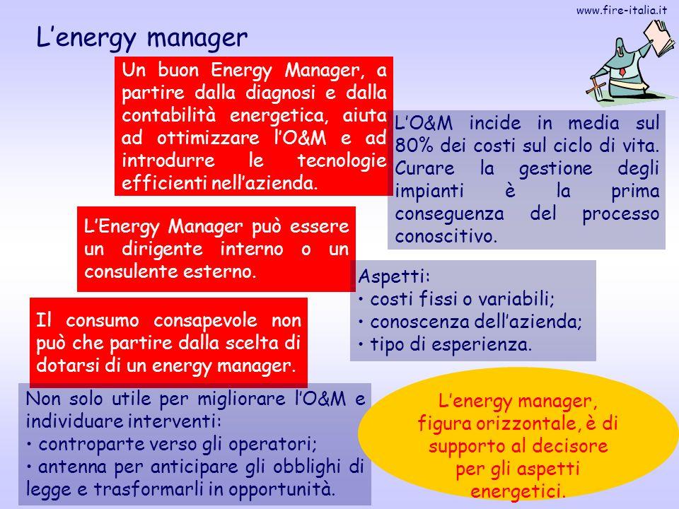 www.fire-italia.it 10 Lenergy manager Un buon Energy Manager, a partire dalla diagnosi e dalla contabilità energetica, aiuta ad ottimizzare lO&M e ad
