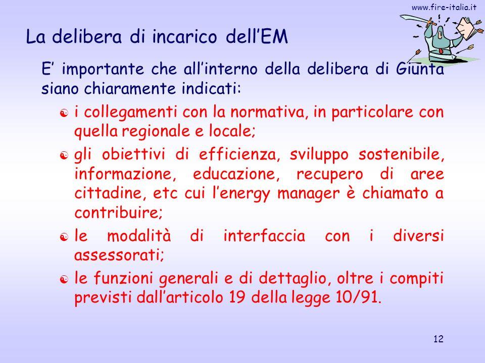 www.fire-italia.it 12 La delibera di incarico dellEM E importante che allinterno della delibera di Giunta siano chiaramente indicati: i collegamenti c