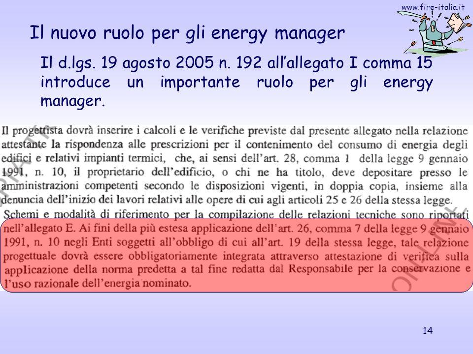 www.fire-italia.it 14 Il nuovo ruolo per gli energy manager Il d.lgs. 19 agosto 2005 n. 192 allallegato I comma 15 introduce un importante ruolo per g
