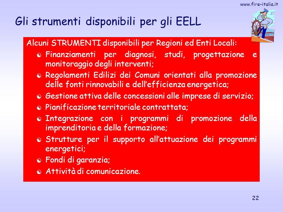 www.fire-italia.it 22 Gli strumenti disponibili per gli EELL Alcuni STRUMENTI disponibili per Regioni ed Enti Locali: Finanziamenti per diagnosi, stud