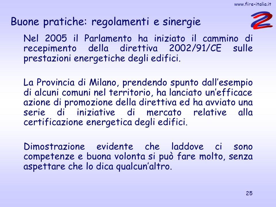 www.fire-italia.it 25 Buone pratiche: regolamenti e sinergie Nel 2005 il Parlamento ha iniziato il cammino di recepimento della direttiva 2002/91/CE sulle prestazioni energetiche degli edifici.