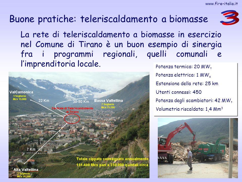 www.fire-italia.it 26 Buone pratiche: teleriscaldamento a biomasse La rete di teleriscaldamento a biomasse in esercizio nel Comune di Tirano è un buon