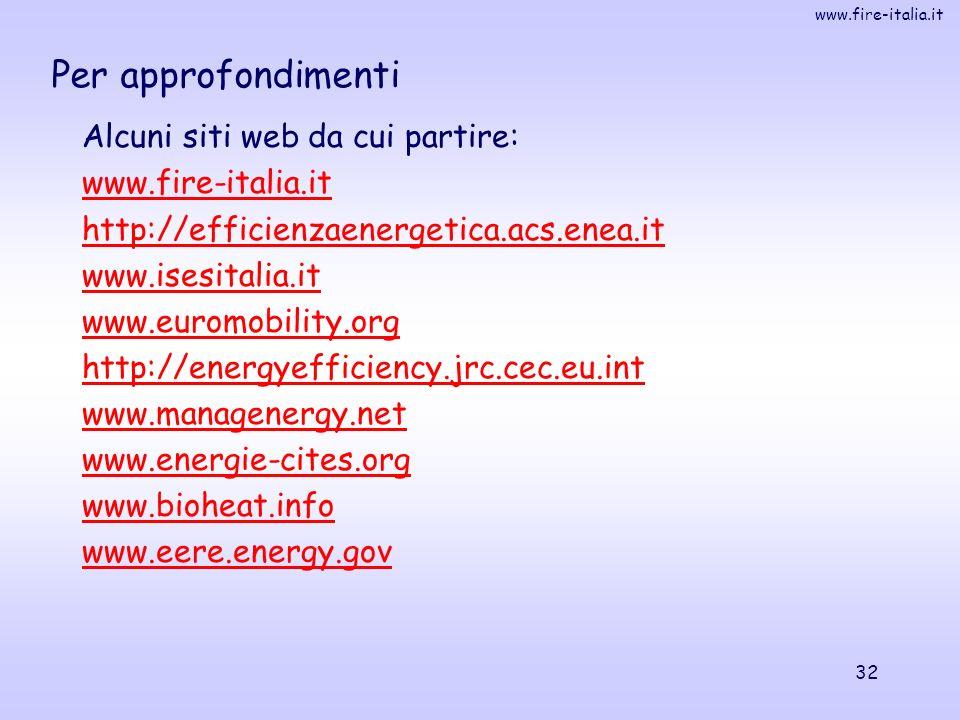 www.fire-italia.it 32 Per approfondimenti Alcuni siti web da cui partire: www.fire-italia.it http://efficienzaenergetica.acs.enea.it www.isesitalia.it www.euromobility.org http://energyefficiency.jrc.cec.eu.int www.managenergy.net www.energie-cites.org www.bioheat.info www.eere.energy.gov