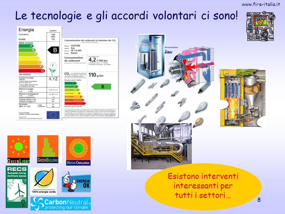 www.fire-italia.it 8 Le tecnologie e gli accordi volontari ci sono! Esistono interventi interessanti per tutti i settori…