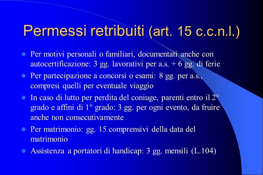 Permessi retribuiti (art. 15 c.c.n.l.) Per motivi personali o familiari, documentati anche con autocertificazione: 3 gg. lavorativi per a.s. + 6 gg. d