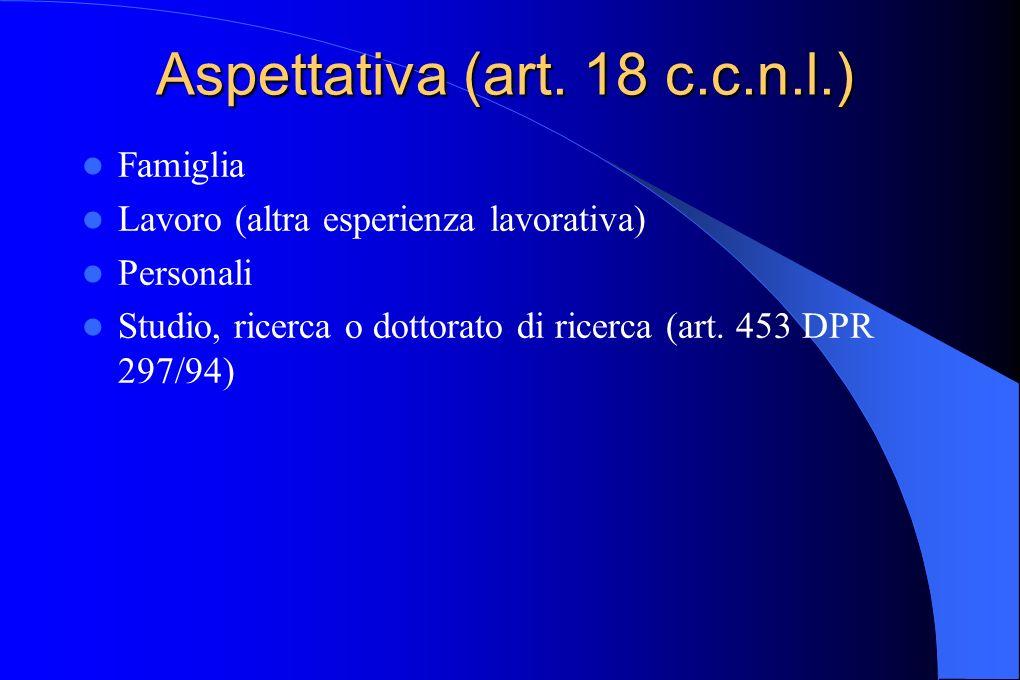 Aspettativa (art. 18 c.c.n.l.) Famiglia Lavoro (altra esperienza lavorativa) Personali Studio, ricerca o dottorato di ricerca (art. 453 DPR 297/94)