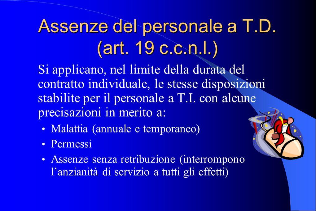 Assenze del personale a T.D. (art. 19 c.c.n.l.) Si applicano, nel limite della durata del contratto individuale, le stesse disposizioni stabilite per