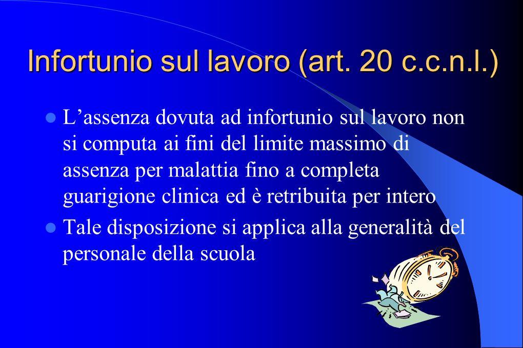 Infortunio sul lavoro (art. 20 c.c.n.l.) Lassenza dovuta ad infortunio sul lavoro non si computa ai fini del limite massimo di assenza per malattia fi