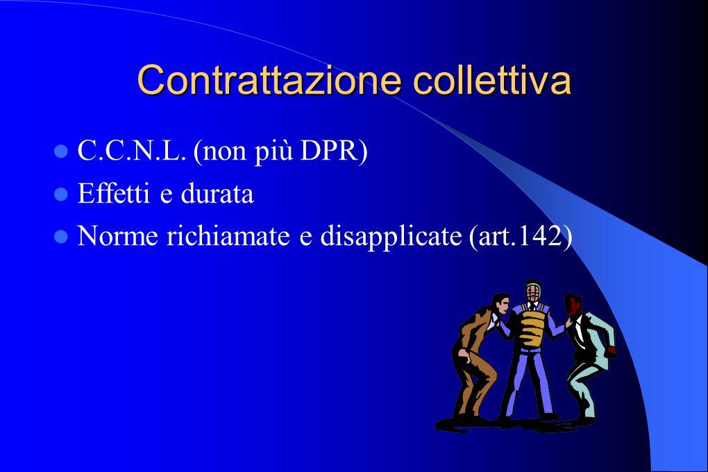 Contrattazione collettiva C.C.N.L. (non più DPR) Effetti e durata Norme richiamate e disapplicate (art.142)
