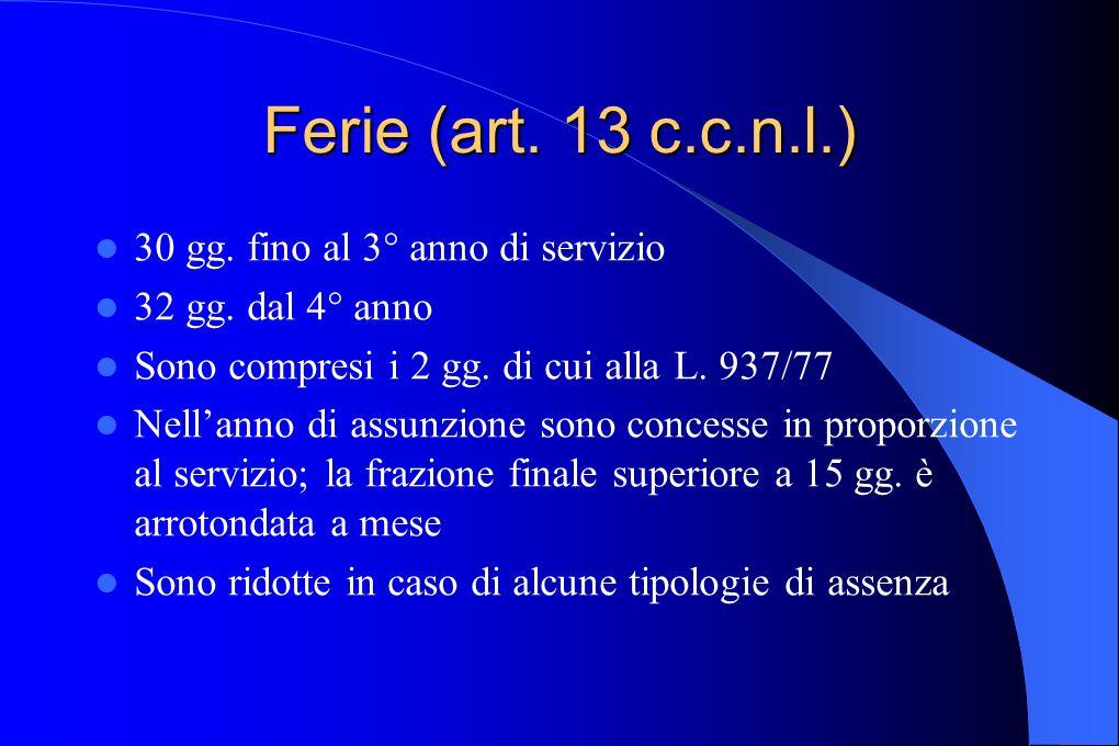 Ferie (art. 13 c.c.n.l.) 30 gg. fino al 3° anno di servizio 32 gg. dal 4° anno Sono compresi i 2 gg. di cui alla L. 937/77 Nellanno di assunzione sono