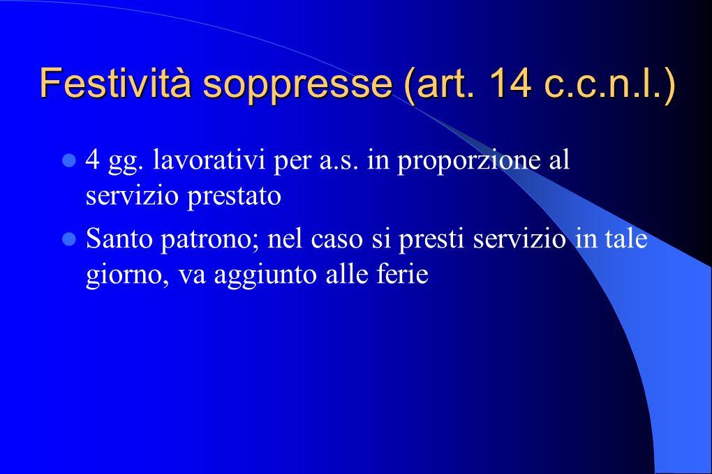 Festività soppresse (art. 14 c.c.n.l.) 4 gg. lavorativi per a.s. in proporzione al servizio prestato Santo patrono; nel caso si presti servizio in tal