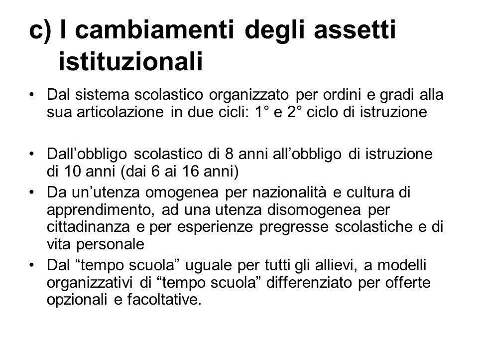 c) I cambiamenti degli assetti istituzionali Dal sistema scolastico organizzato per ordini e gradi alla sua articolazione in due cicli: 1° e 2° ciclo