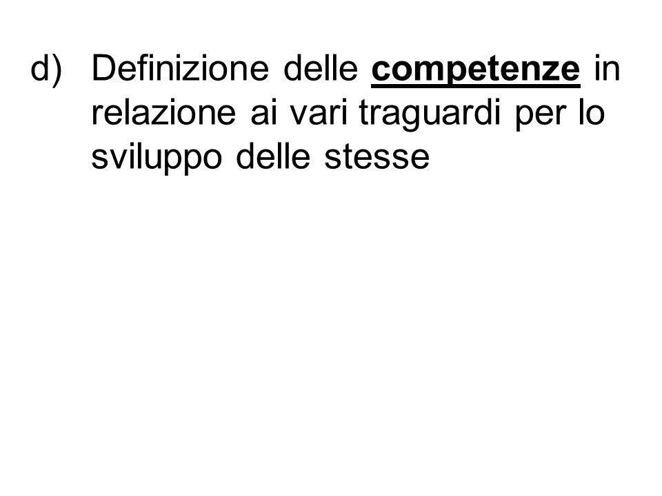 d)Definizione delle competenze in relazione ai vari traguardi per lo sviluppo delle stesse