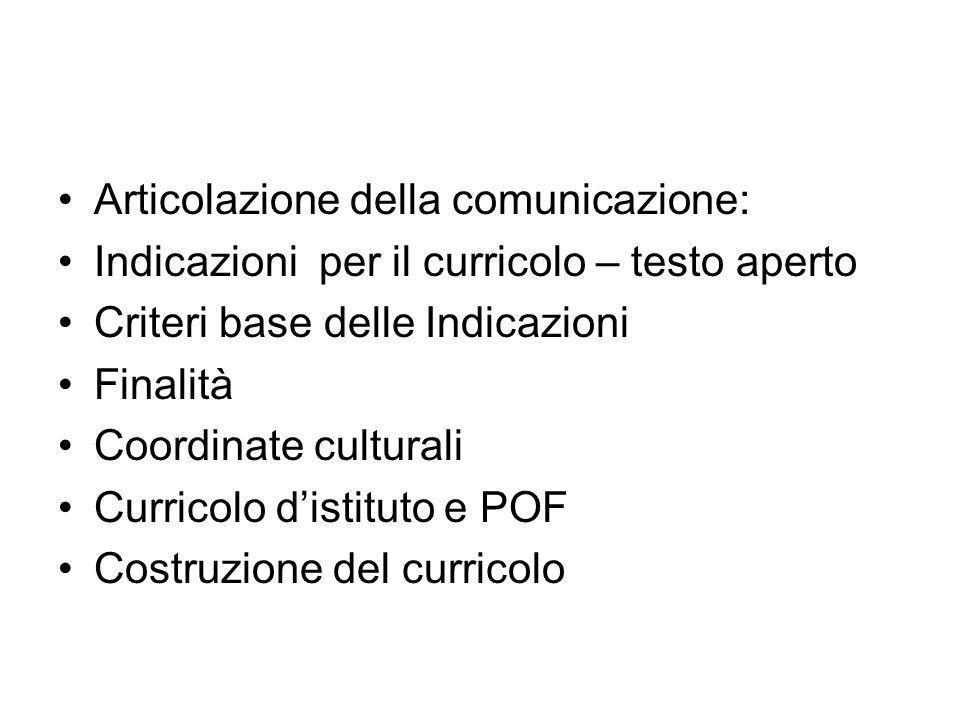 Articolazione della comunicazione: Indicazioni per il curricolo – testo aperto Criteri base delle Indicazioni Finalità Coordinate culturali Curricolo