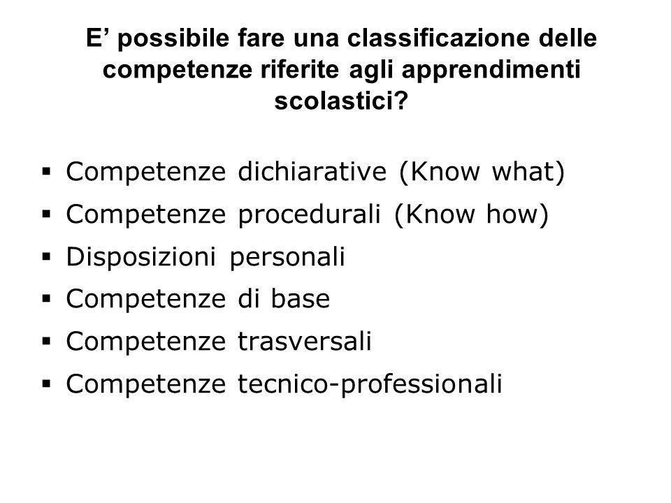 E possibile fare una classificazione delle competenze riferite agli apprendimenti scolastici? Competenze dichiarative (Know what) Competenze procedura
